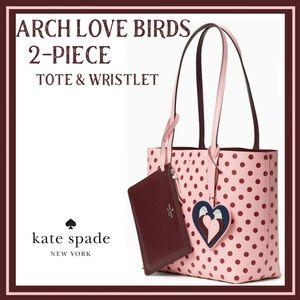 arch love birds 2-pc reversible tote & wristlet